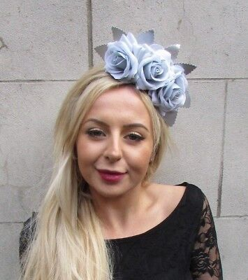 Silver Light Grey Blue Rose Flower Feather Fascinator Headband Races Crown 6819