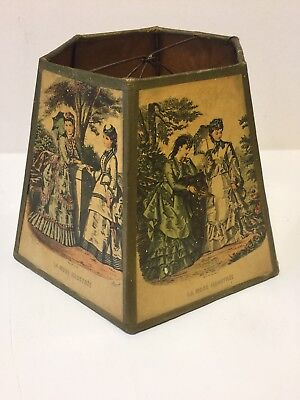 Vintage 6-sided Lamp Shade with Victorian Fashion Plate Prints Paper Clip-On