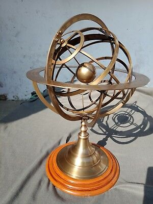 "22"" Large Fully Brass Armillary Sphere Engraved Nautical Astrolabe World Globe"