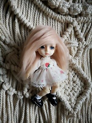 "5-6"" Light Peach Faux Fur Wig 1/8 BJD Doll Dollfie Monster high Lati yellow"