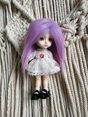"5-6"" Light Lavender Faux Fur Wig 1/8 BJD Doll Dollfie Monster high Lati yellow"