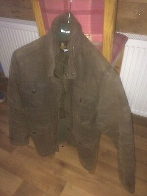 Barbour Sapper Wax Jacket Size Small S Waxed Coat Vintage