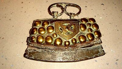 CHUCKMUCK - ANTIQUE TINDER PURSE - POUCH - c19TH (?) - LEATHER WITH BRASS DECOR
