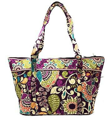 Vera Bradley Miller Bag in Plum Crazy with Solid Plum Interior - NWT & Defects