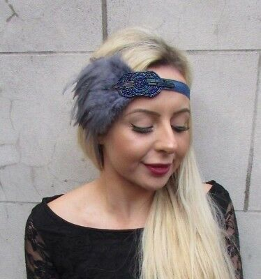 Dark Grey Charcoal Navy Blue Feather Headpiece 1920s Headband Flapper Vtg 6821