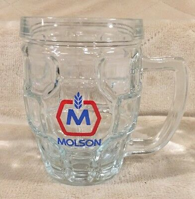 Molson Canadian Lager Waffle Dimple Glass Beer Mug Cup Stein Tankard Montreal