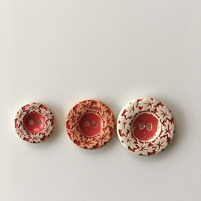 Vintage Buffed Celluloid Buttons Leaf Red Orange 2 Hole Sew Thru Lot of 3