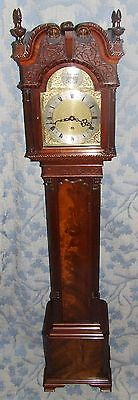 Antique Mahogany Grandmother Clock / Miniature Longcase : Westminster Chimes