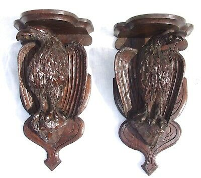 PAIR Antique Black Forest Oak Carved Bracket Clock Bracket / Wall Bracket Shelf