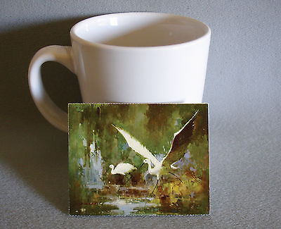 Fine quality country french miniature artwork marsh egrets - great for dollhouse