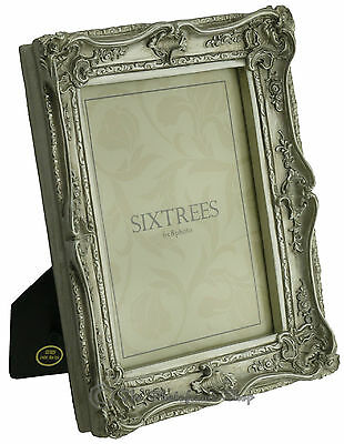 Sixtrees Chelsea Shabby Chic Vintage Ornate Antique Silver 8x6 inch Photo frame