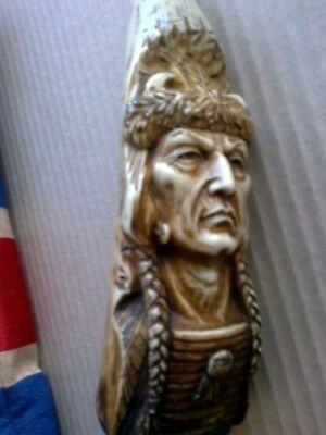 fabulous scrimshaw...Tooth carving..highly detailed..American Native chieftain