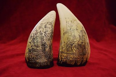 """faux scrimshaw  """"Lake Errie & Adventure""""  sold as matching pair.  Quality items!"""