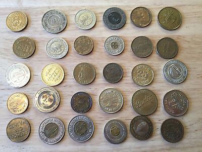 Lot of 30 Car Wash Tokens - All Different Tokens