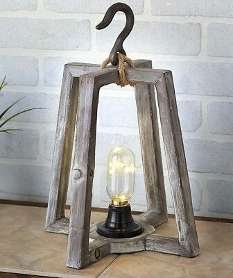 1 Box Rustic Wood Led Lantern Light Country Farmhouse Coastal Home Decor