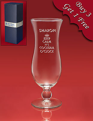 Personalised Engraved COCKTAIL Hurricane Glass - Gin & Tonic/Vodka/Cocktails etc