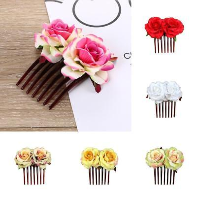 Women Girl's Double Silk Rose Flower Hair Comb Clips Pins Wedding Bridal Party