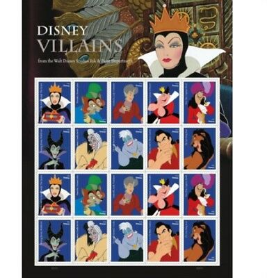 One Sheet Of 20 Disney Villains Usps First Class Forever Postage Stamps