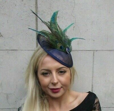 Navy Blue Green Peacock Feather Disc Saucer Hat Fascinator Hair Races Ascot 6828