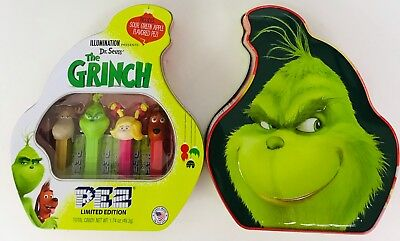 Christmas Limited Edition PEZ Candy Grinch Gift Tin With 4 Candy Dispensers