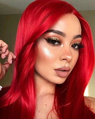 """AU 24"""" Fashion Synthetic Hair Natural Straight Red Lace Front Wig"""