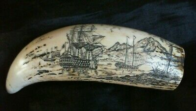 "Beautiful ""Lord Nelson"" and the ""Victory"" Faux Scrimshaw Reduced! £10.99 SRP £24"