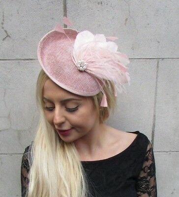 Nude Blush Light Dusky Pink Feather Disc Saucer Hat Fascinator Hair Races 6830