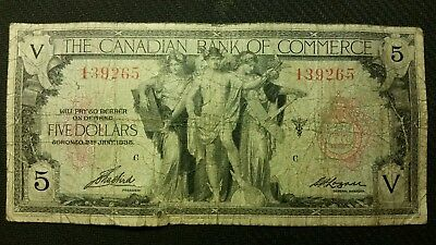 1935 The Canadian Bank Of Commerce $5 Banknote