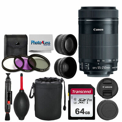 Canon EF-S 55-250mm f/4-5.6 IS STM Lens + 64GB Memory Card + Filter Kit + Pouch