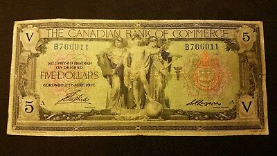 1917 The Canadian Bank Of Commerce Large $5 Banknote