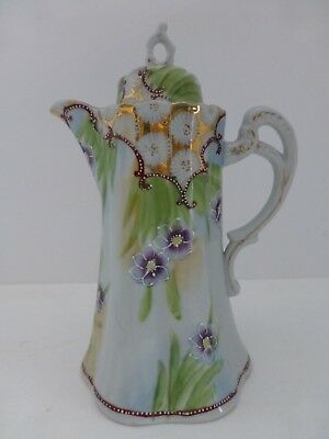Hand Painted Nippon Chocolate or Tea Pot, White with Floral Decoration & Gold