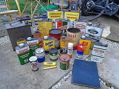 VINTAGE job lot of OIL CANS TINS for ESSO MOBIL DUCKHAMS CASTROL SHELL, 28 items