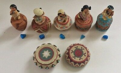 Vintage  Enesco  Karen Friends Of The Feather Figs. Lot Of 7 Trinket Boxes
