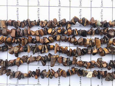 "6-8mm 16"" Tiger's Eye Chips Beads Gemstone  Strands Jewelry Natural Freeform"
