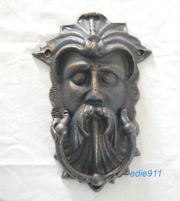 "GREEN MAN DOOR KNOCKER 10"" Cast Iron CELTIC LEAF GOD ~ NEW ~ Bronzed finish"