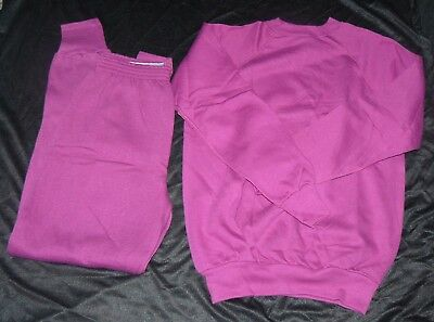 Vintage 1980s Womens Sweatpants Sweat Shirt Outfit Size Large 40 Rose Pink NWOT