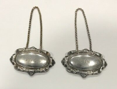 Lot of Two .925 Silver Liquor Decanter Tags Gin & Rye Made in Holland Vintage