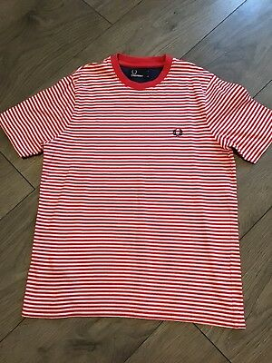 Medium Boys Fred Perry Striped Crew Neck T Shirt New 10 11 12