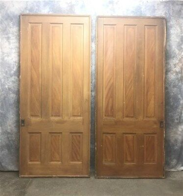 Pair Antique Pocket Doors, Solid Wood Pocket Double Doors, Sliding Door Salvage