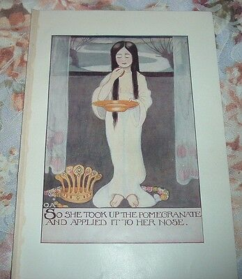 1919 Goddess PROSERPINA TOOK UP THE POMEGRANATE TO HER NOSE Color Litho Print