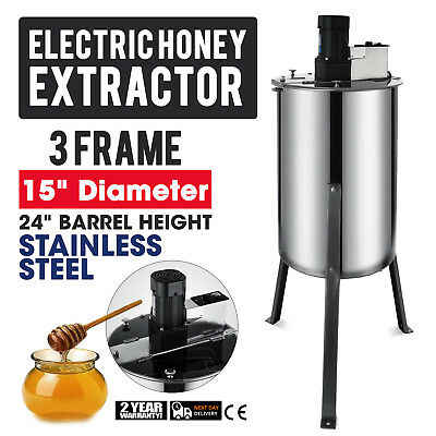 """3 Frame Electric Honey Extractor Plastic Gate 2"""" Outlet 15"""" Diameter NEWEST"""
