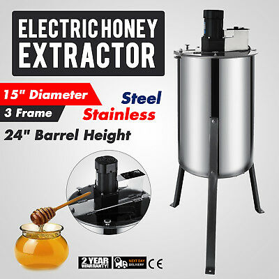 3 Frame Electric Honey Extractor 2 Clear  Lids Plastic Gate Food Grade HOT