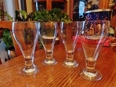 "Set of 4 Pilsner beer glasses clear footed tapered 7 7/8"" tall"