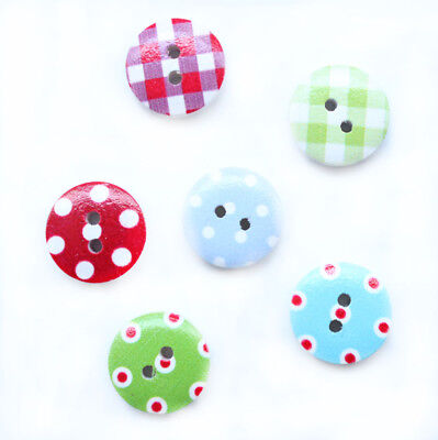 60 Plaid and Dot Pattern 2 Holes Round Wood Painting Sewing Buttons 15mm D001