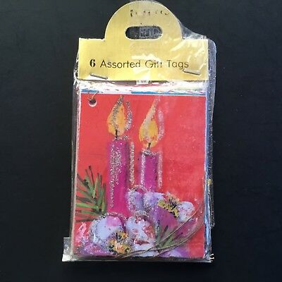 Vintage Christmas present Gift Tags, Glittery Candles, Assorted, Germany