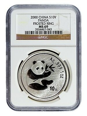 AUC0771 2000 China 1 oz Silver Panda S10Y Frosted Ring NGC MS69