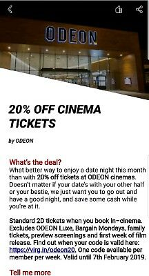 Odeon Cinema Code 20% off, any day in cinema only