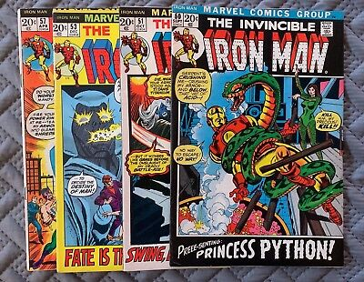 Marvel Iron Man 1970's Lot of 4 Comic Books Vol 1. Issues 50-53, 54