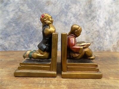 1939 Armor Bronze Clad Boy Girl Chinese Bookends Metal Vintage Library Brass