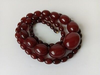 Art Deco Cherry Amber Bakelite Bead Necklace - 104g, 88.5cm - Fully Tested